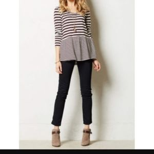 Anthro Twig & Perch striped peplum top